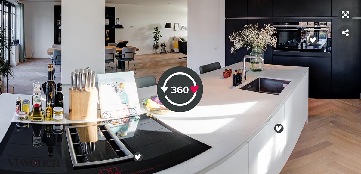 360 tour zwart wit keuken
