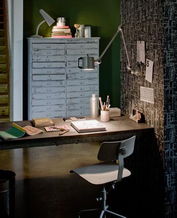 bureaulamp aan de muur