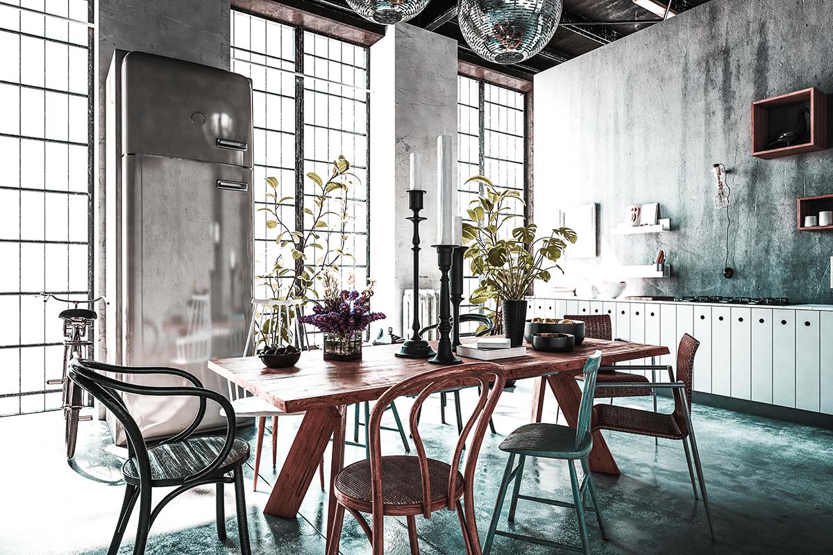 koffiebarlook tafel stoelen industriele ramen