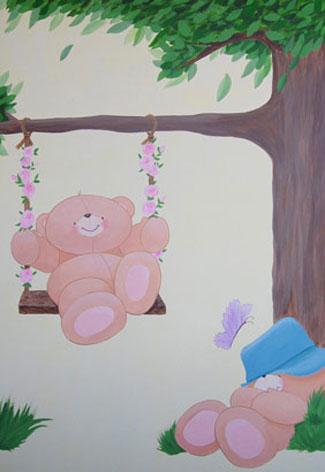 Forever Friends muurtekening babykamer