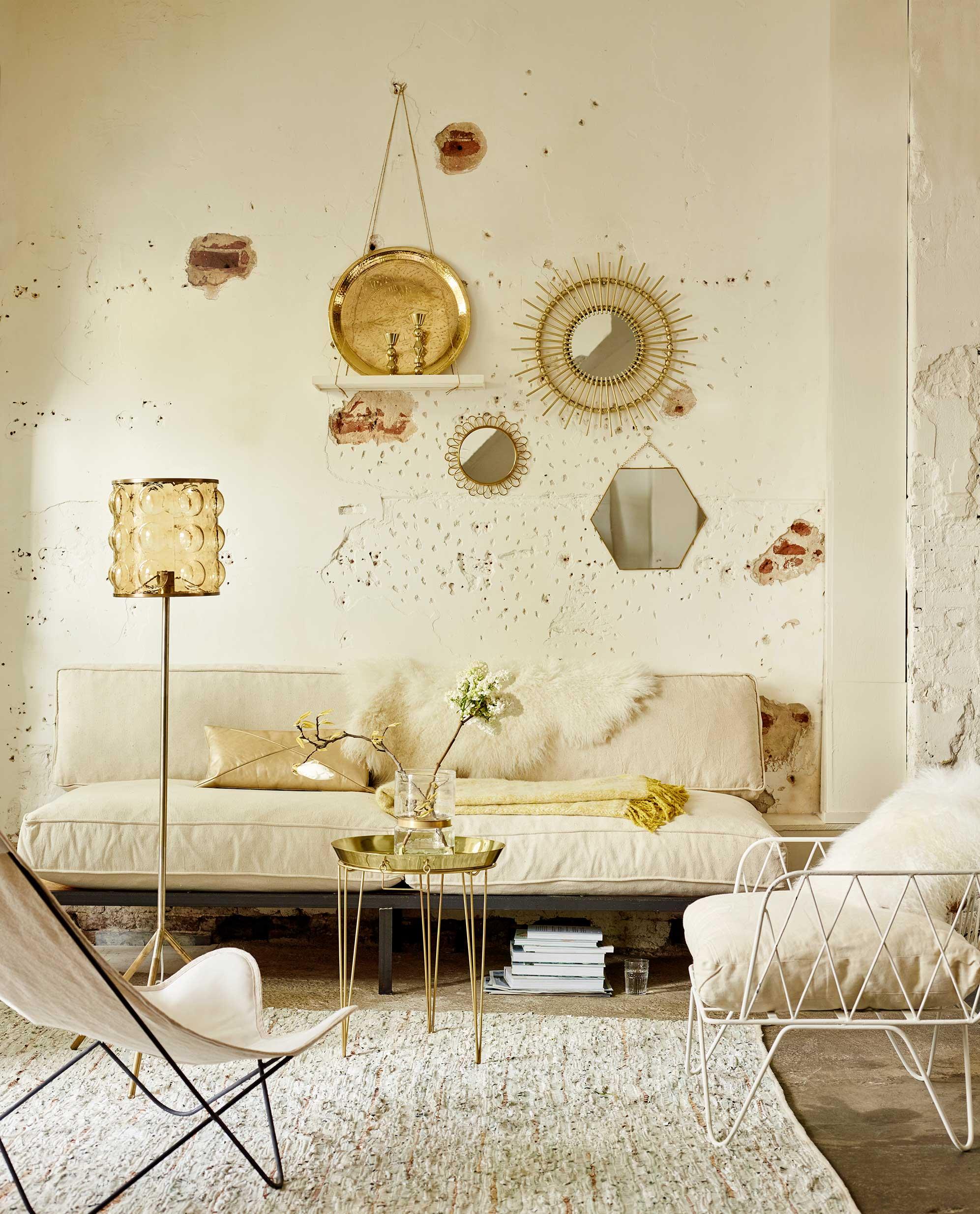 woonkamer roomwit goud