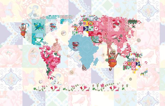 Behang Wereldkaart uit de behangcollectie Vintage Chic