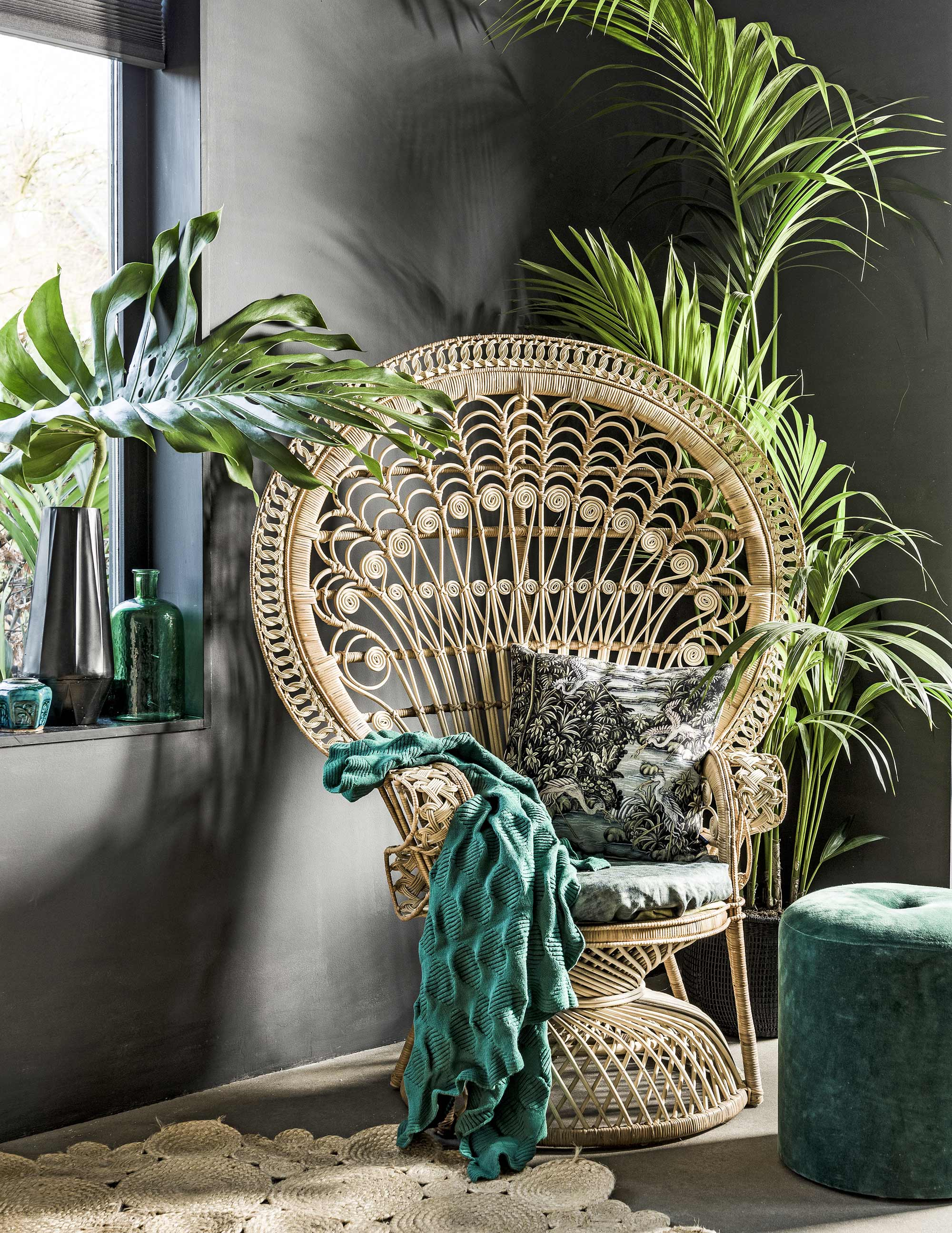 Chaise Paon Pouf Vert