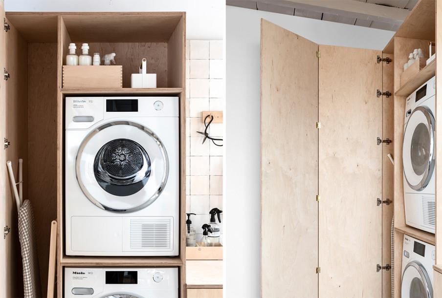détail armoire haute sèche linge