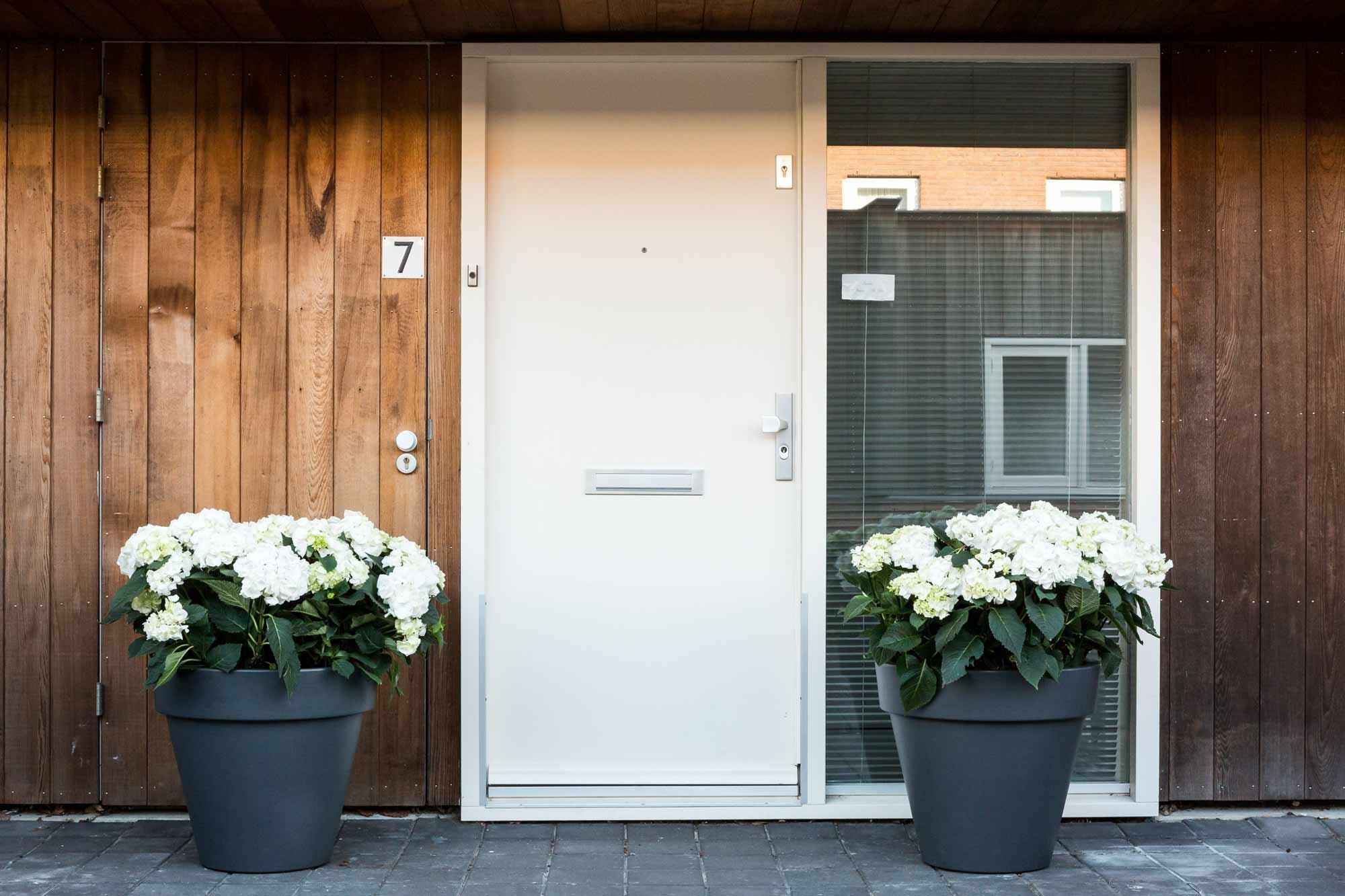 voortuin bloempotten voordeur