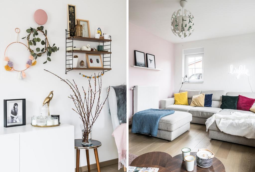 Kastje aan muur en zetel in woonkamer met witte muren