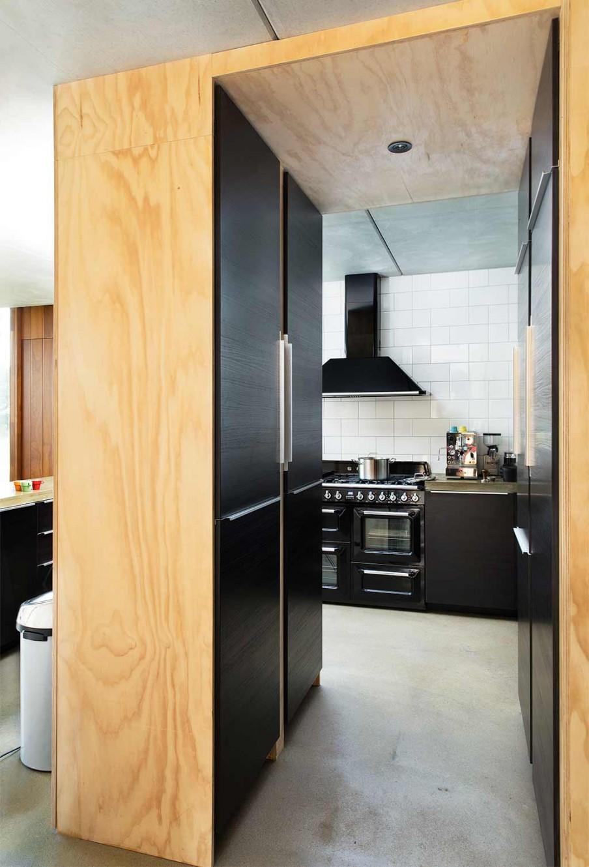 armoires cuisine bois noir