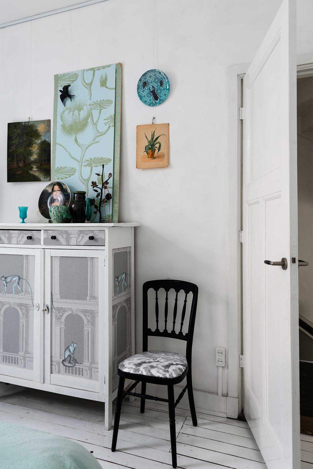 kunst slaapkamer vintage stoel