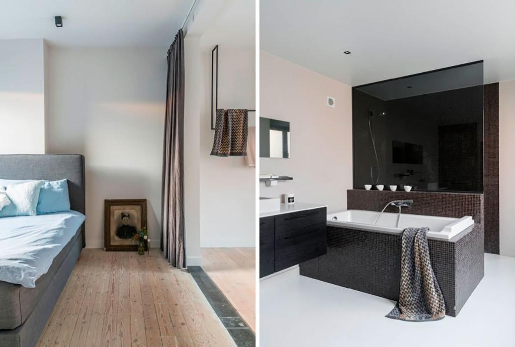 Chambre vieille et salle de bains noir et blanc
