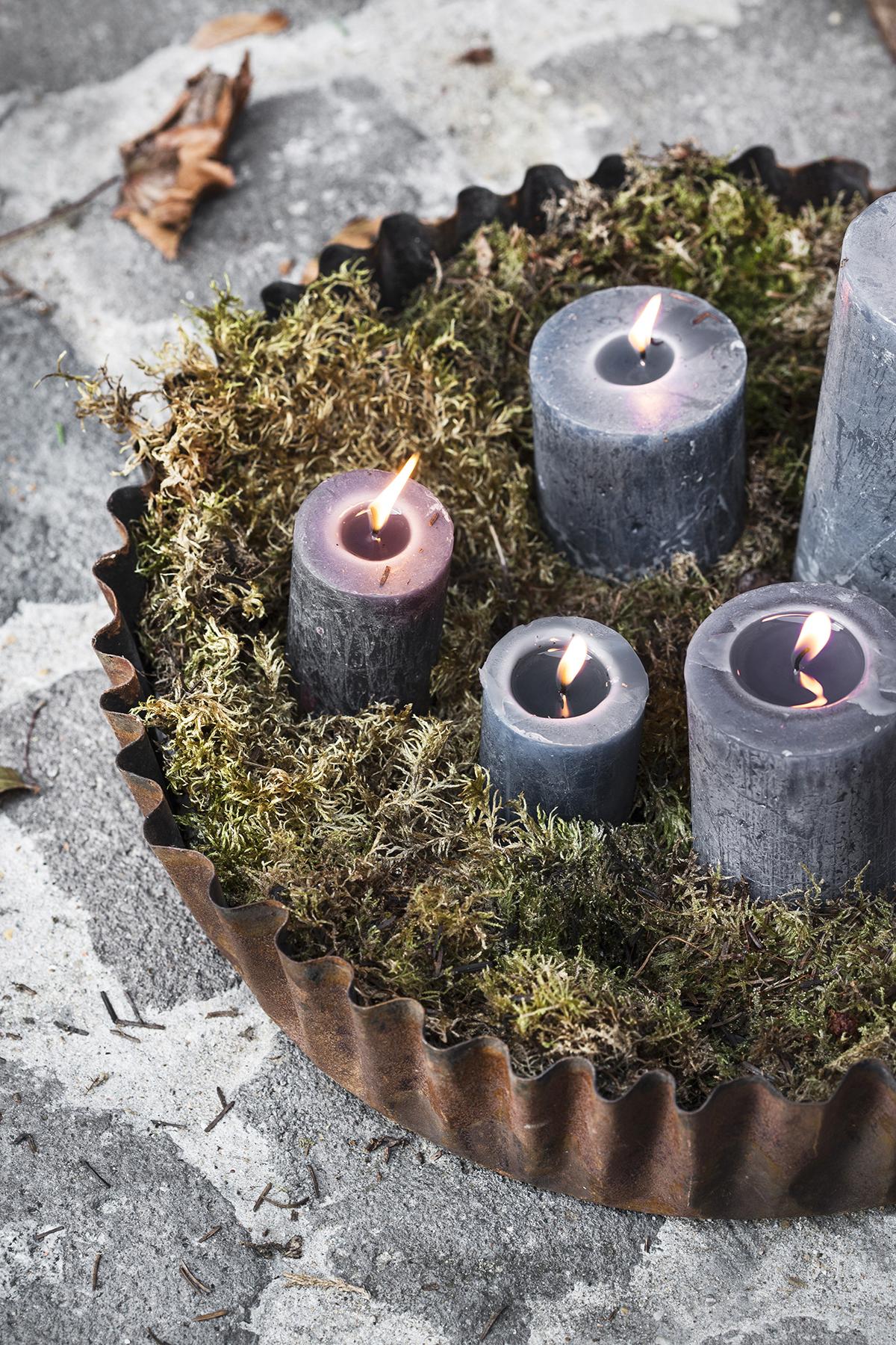 natuur kerst kaarsen mos