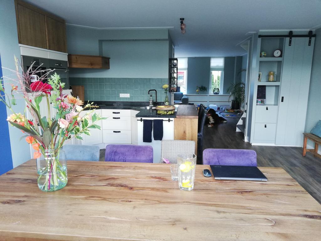 de-keuken-centraal-in-het-midden-van-huis-met-rechts-een-op-maat-gemaakte-kast-met-schuifwand-geinspireerd-door-de-barn-kast-van-vtwonen-alles-geschilderd-in-dezelfde-mooie-grijs-groene-verf