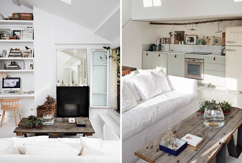 Marmeren keukenblad met witte bank in de woonkamer