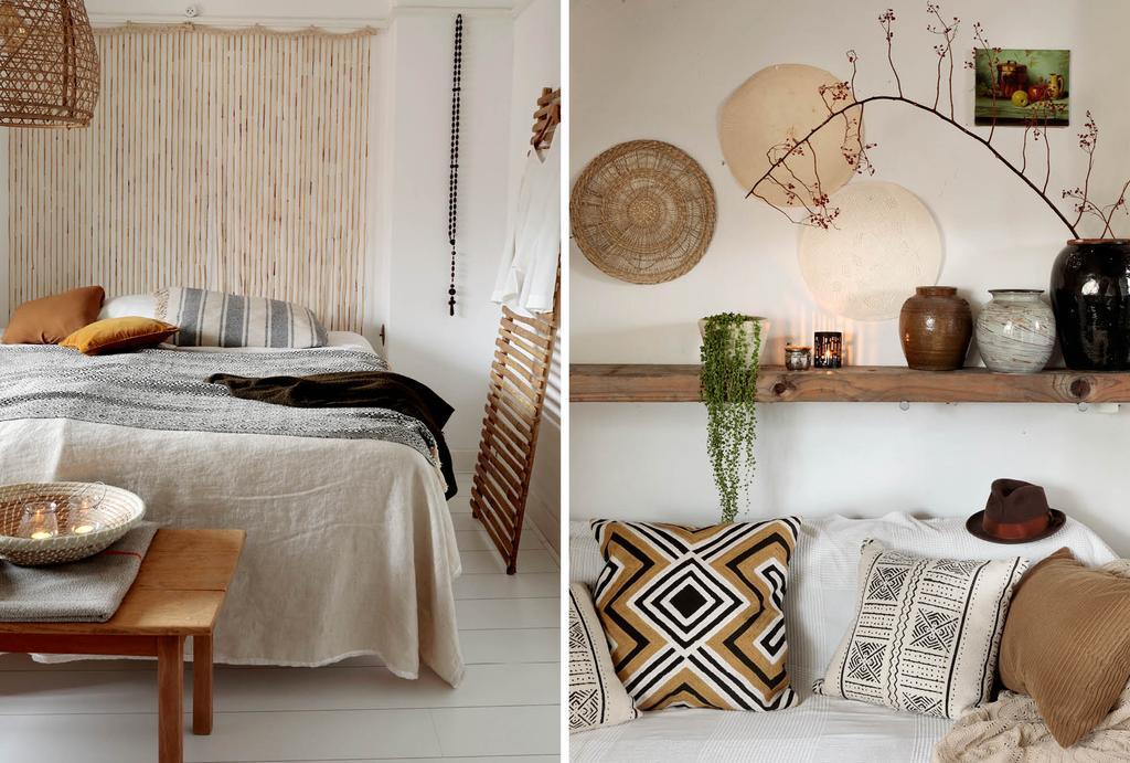 Naturel slaapkamer met materialen als rotan, riet en hout