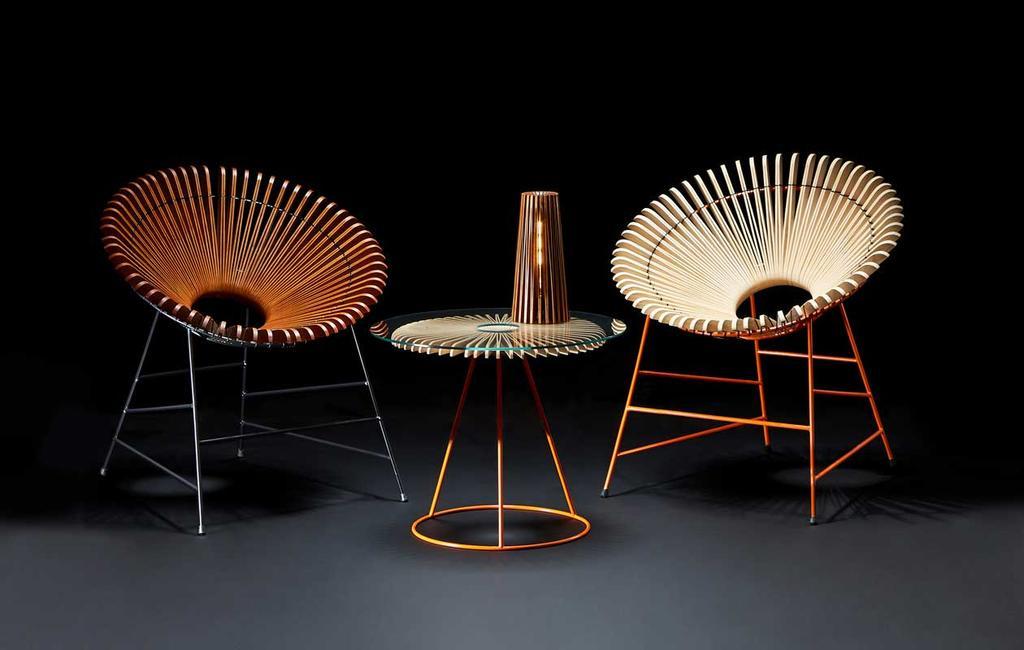 vtwonen | studentdesign | concertina-collectie | Huw Evans | stoelen met een tafeltje en een lamp