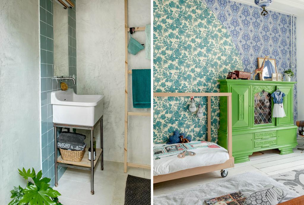 vtwonen binnenkijken in badkamer met blauwe tegels en slaapkamer met groene vintage kast en behang