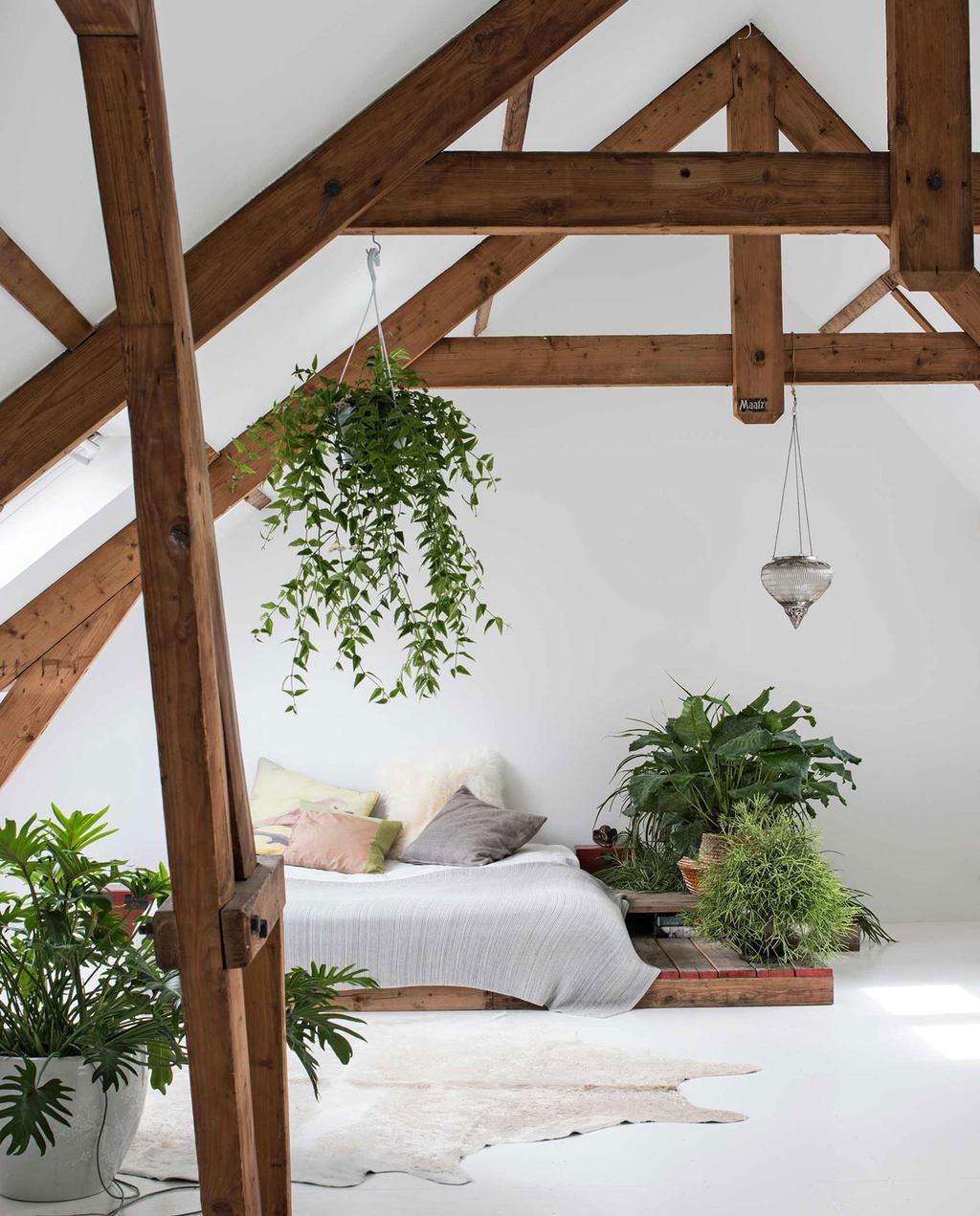zolderkamer met zichtbare balken en bed op pallets