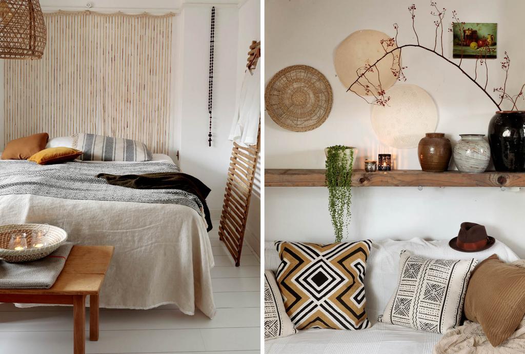 Chambre blanc et beige et étagere murale avec pots.