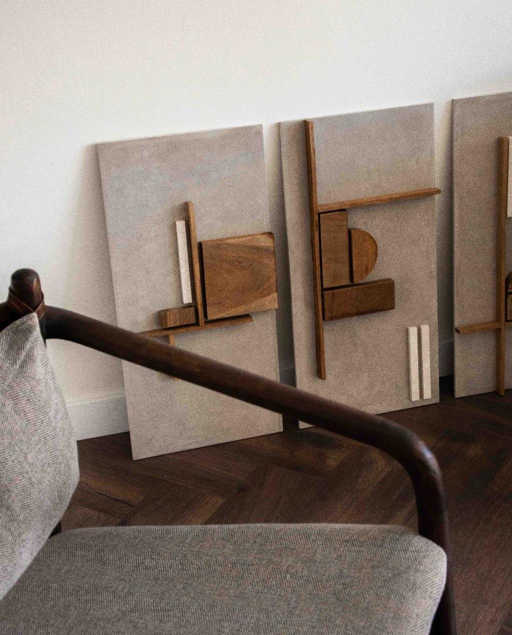 vtwonen blog rachel | drieluik kunst restmateriaal hout