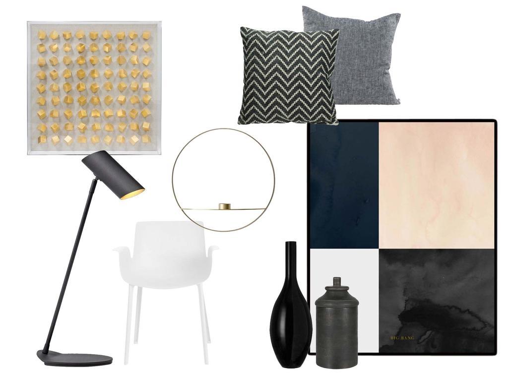 Shoppen in de stijl van kunst in huis met een zwart-wit-grijs interieur