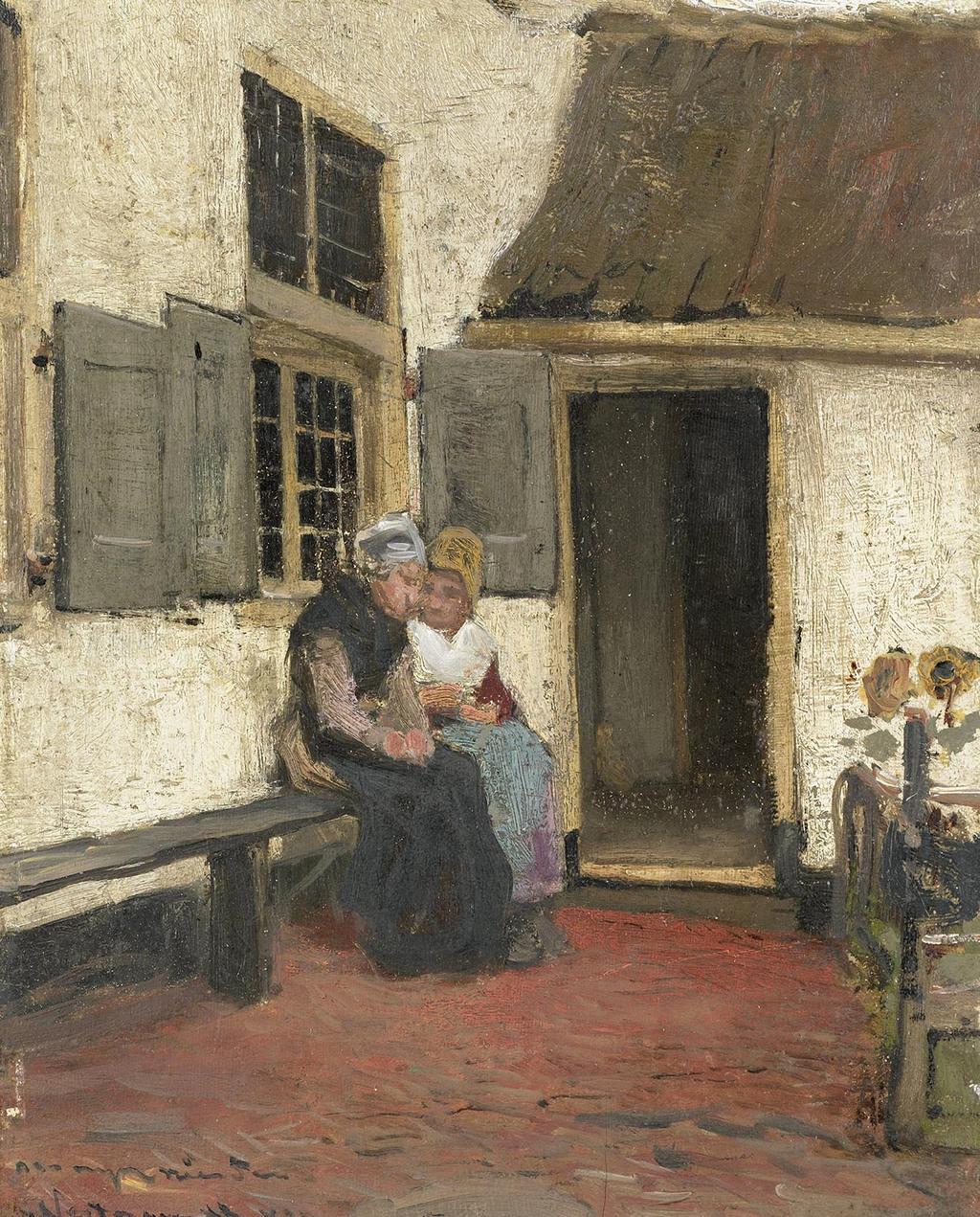 Schilderij van buurroddels van  Bernardus Johannes Blommers (ca. 1880-1907)