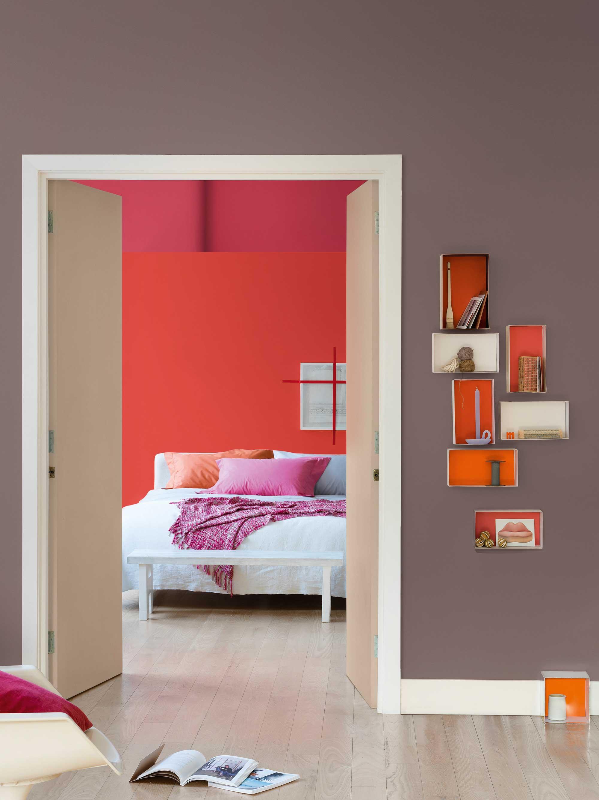 vue chambre orange brun