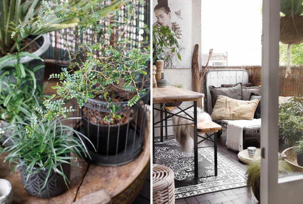 Bohemian balkon met loungebank en planten