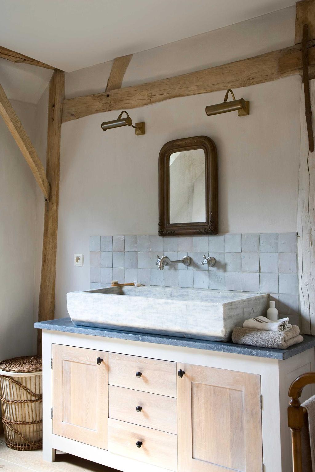 lavabo spiegel hout