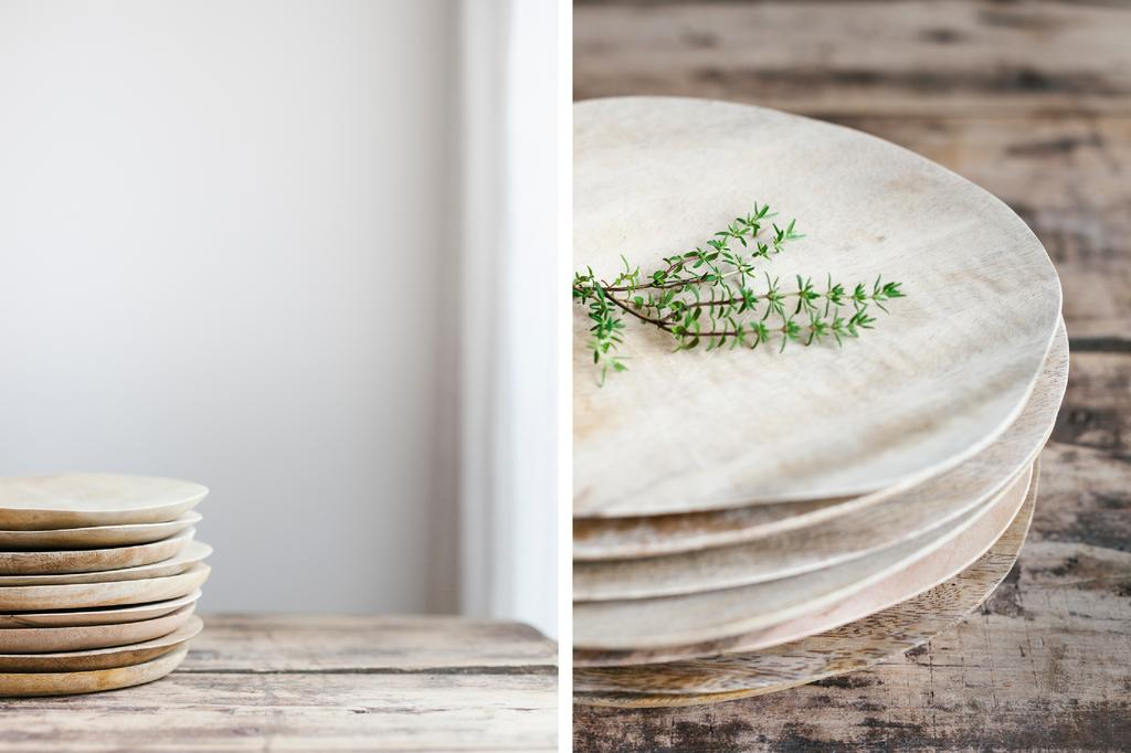 Houten tableware dubbel