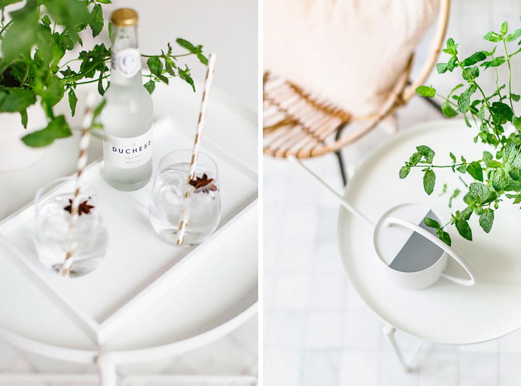Glazen en een plantje staan op een minimalistisch wit tafeltje.