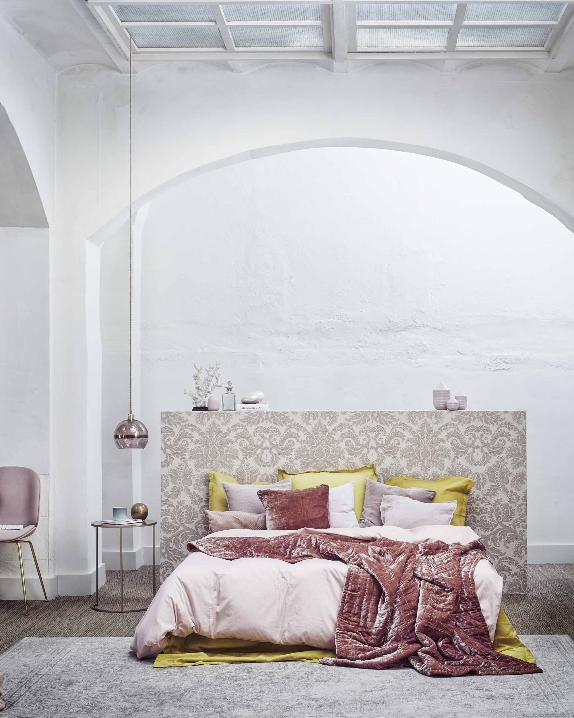 Slaapkamer fluweel roze
