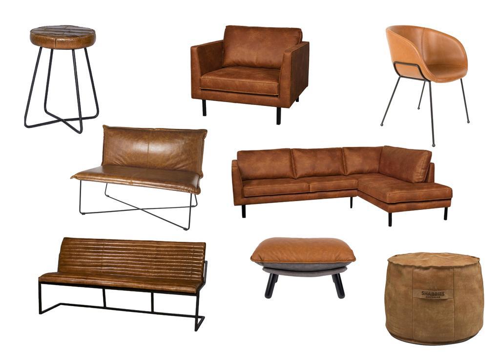 collage cognackleurige meubels