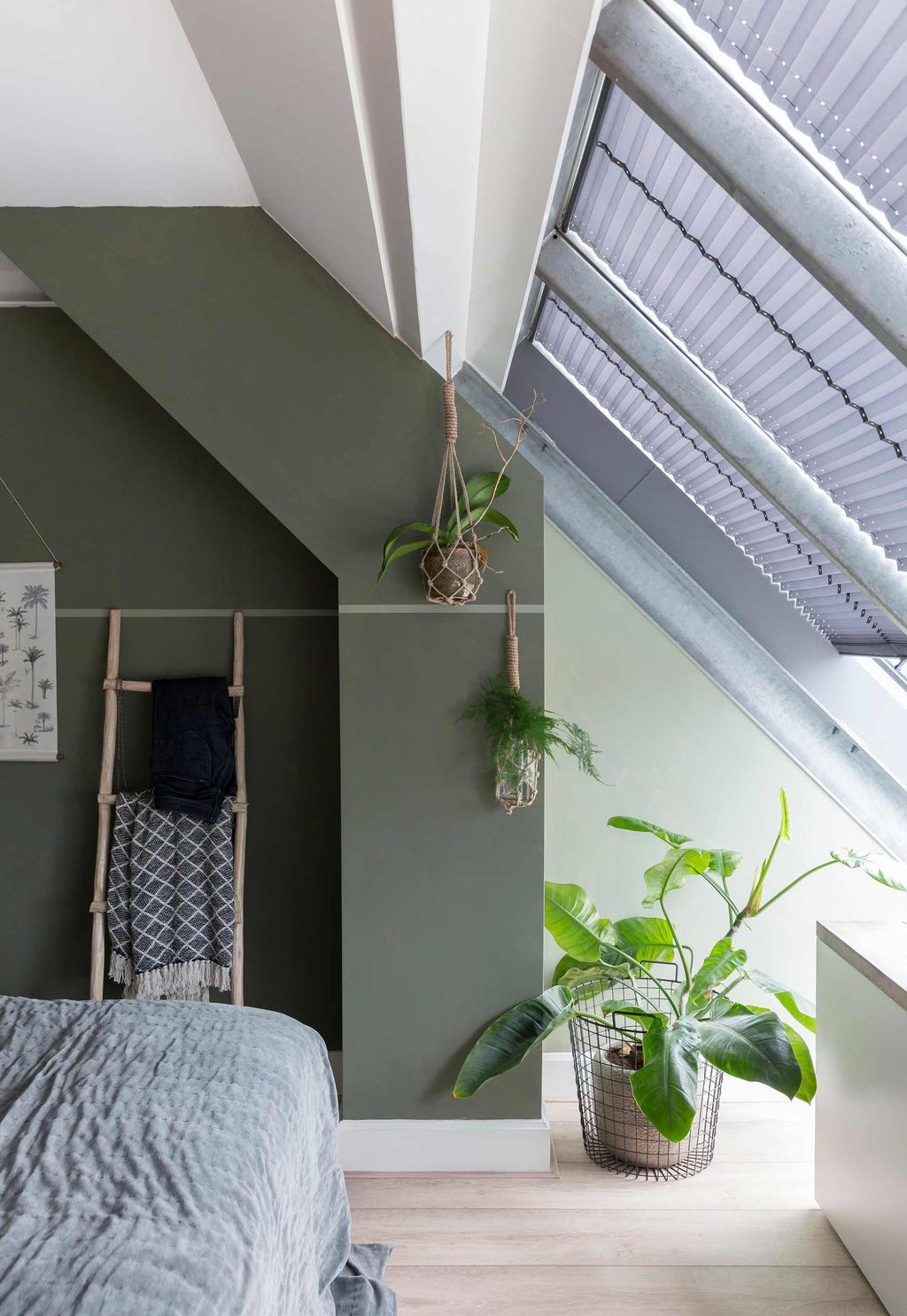 groene slaapkamer hangplanten