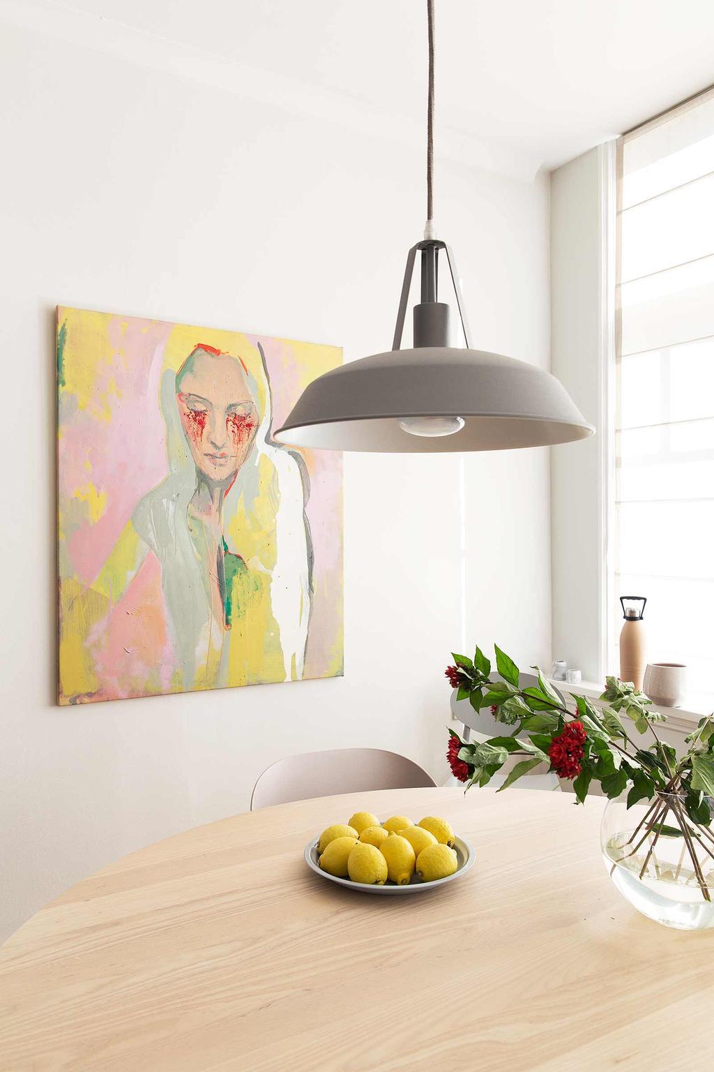 roze geel schilderij