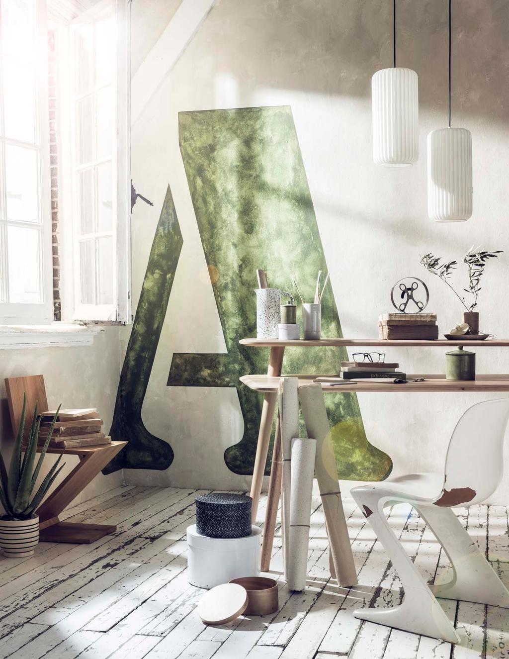 Werkkamer met groene letter als muurschildering