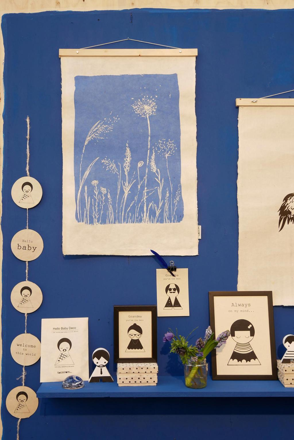 Wanddecoratie van Sagstrom and Comet op handgeschept papier tijdens showUP