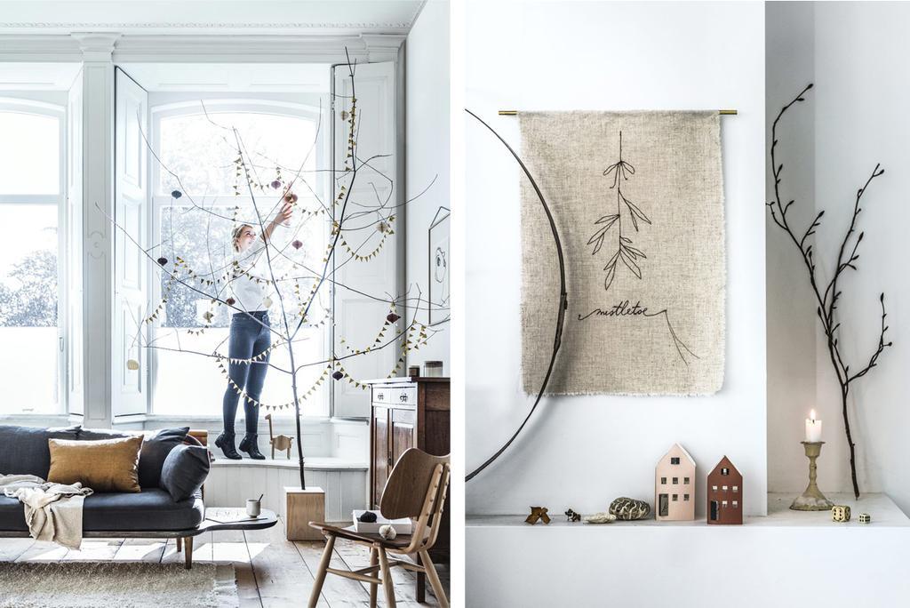 DIY feest takken met slingers en een lapje geluk aan de muur.
