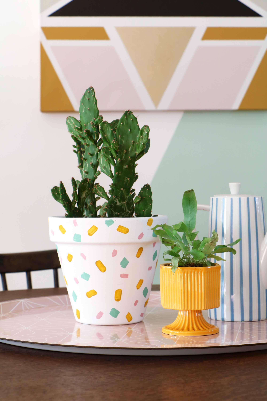 DIY-idee met groen: beschilderde bloempot - Marij van My attic