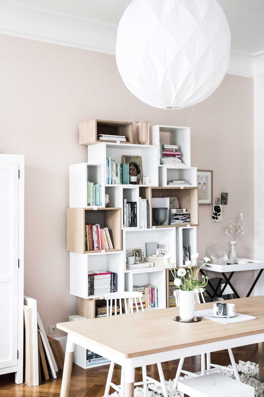 bibliothèque mur rose