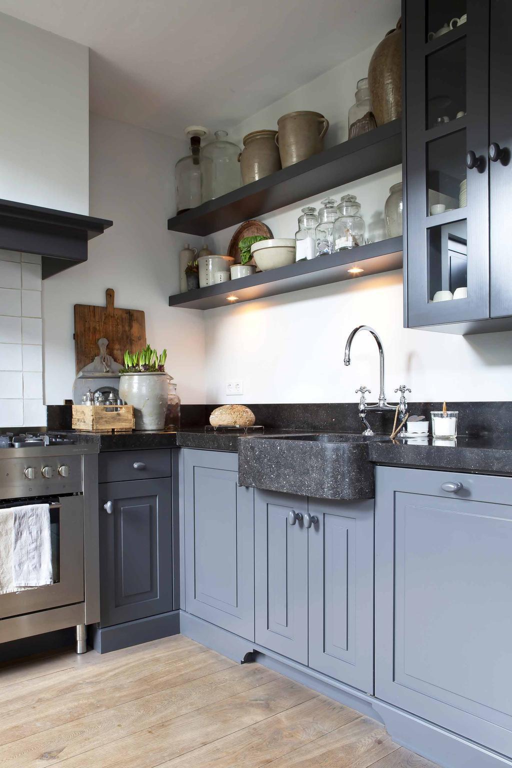 keuken blauw hardsteen