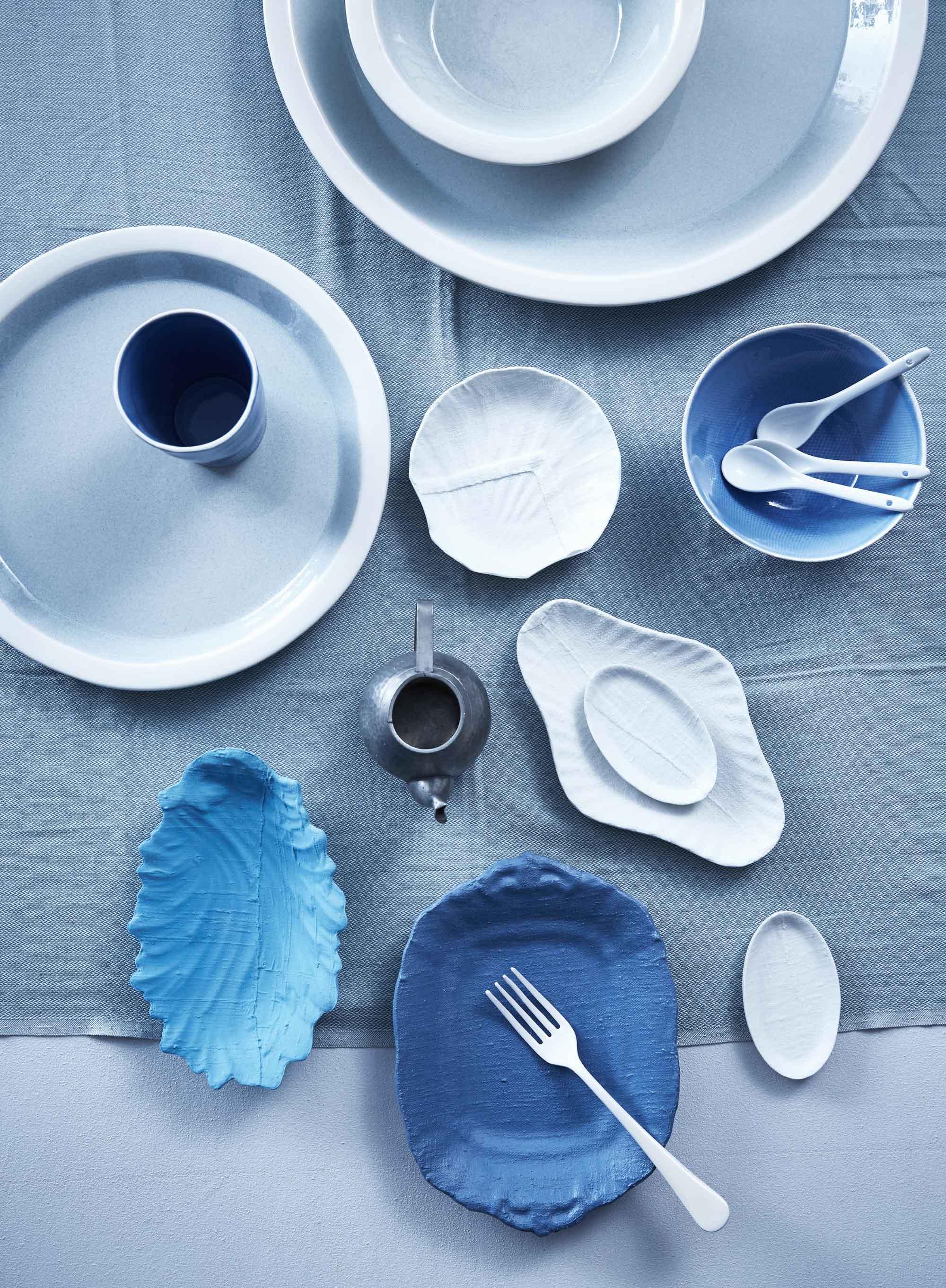 servies blauw wit aardewerk