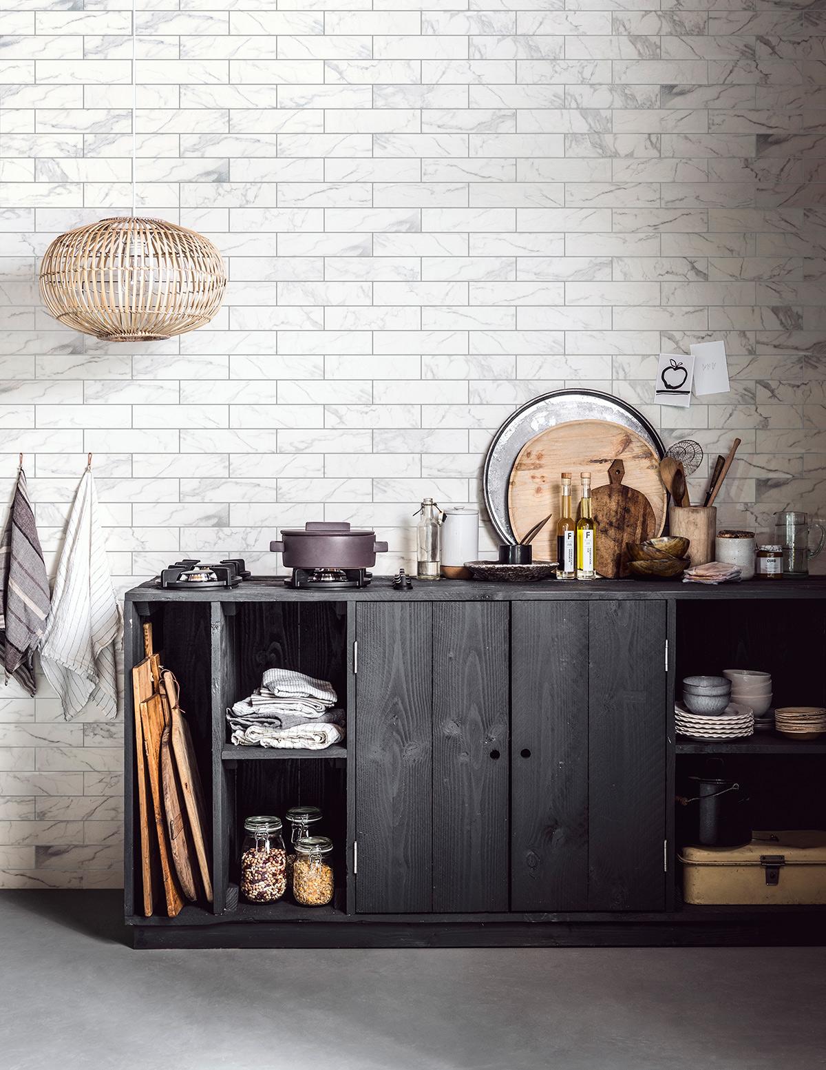 Keuken met vtwonen tegels Marble