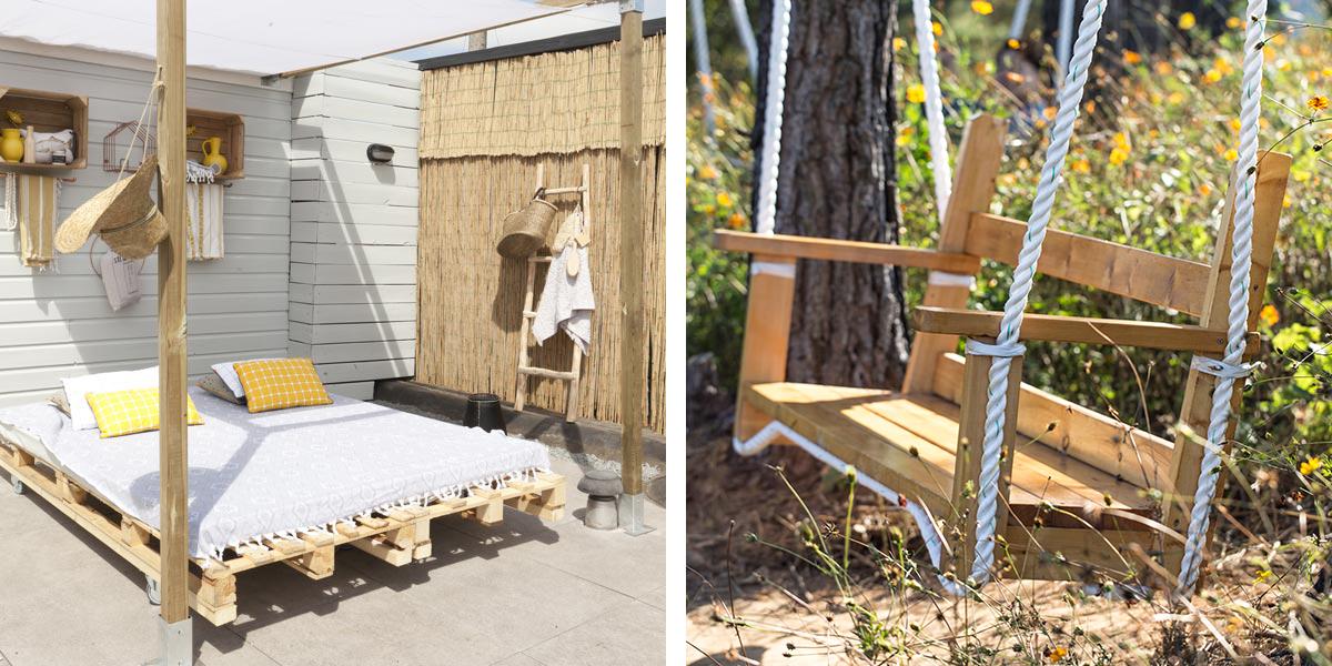 daybed en houten schommel met touw