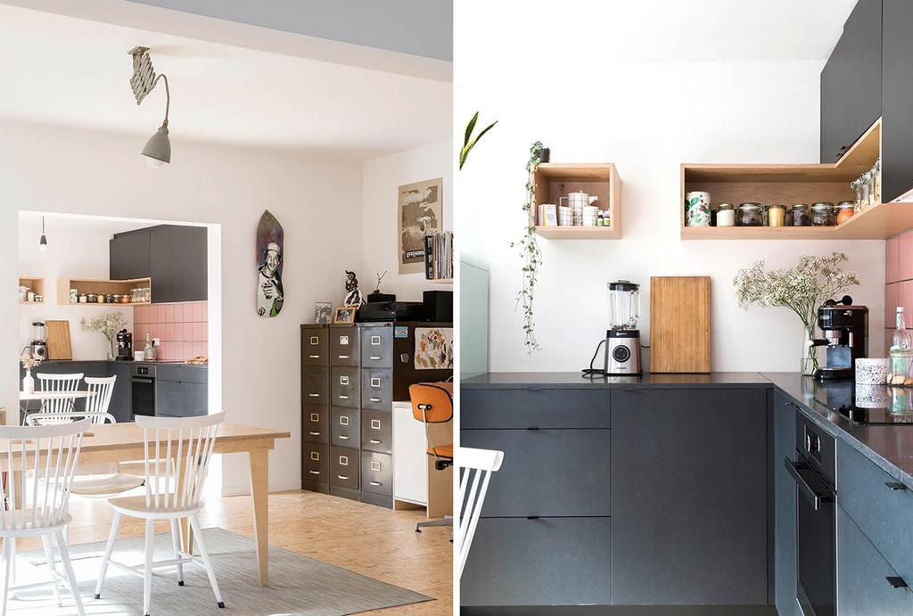 Eettafel, stoelen en keuken in woning in Herenthout