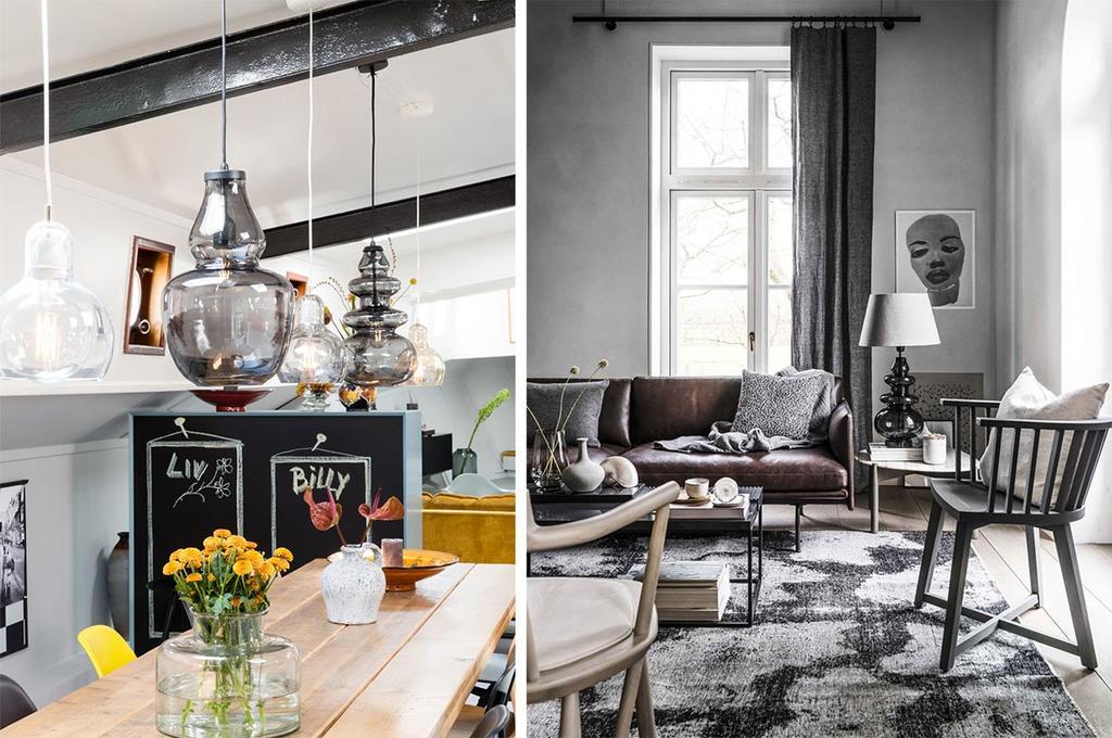 Tine K Home hanglampen van grijs glas