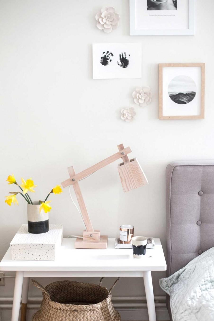chambre lampe chevet bois