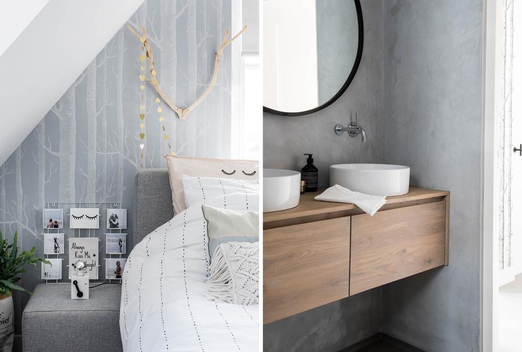 Basic slaapkamer in naturel kleuren met houten gewei