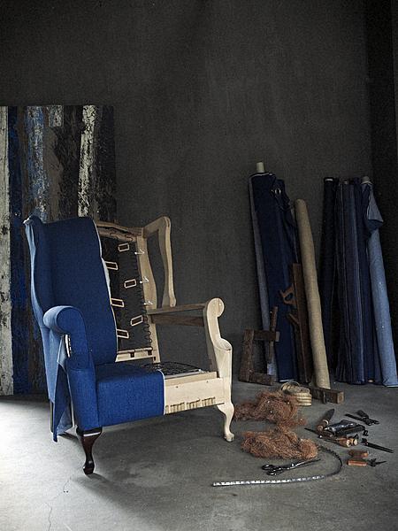 fauteuil bekleden met spijkerstof