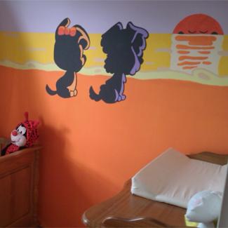 Muurschildering Woezel en Pip