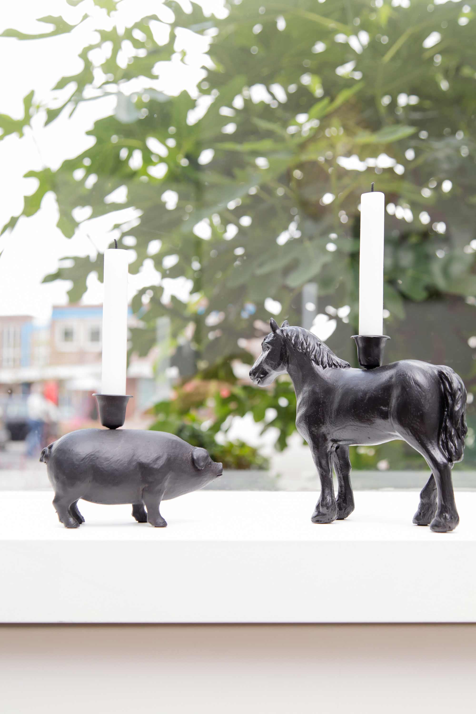 kaarsenhouder varken en paard