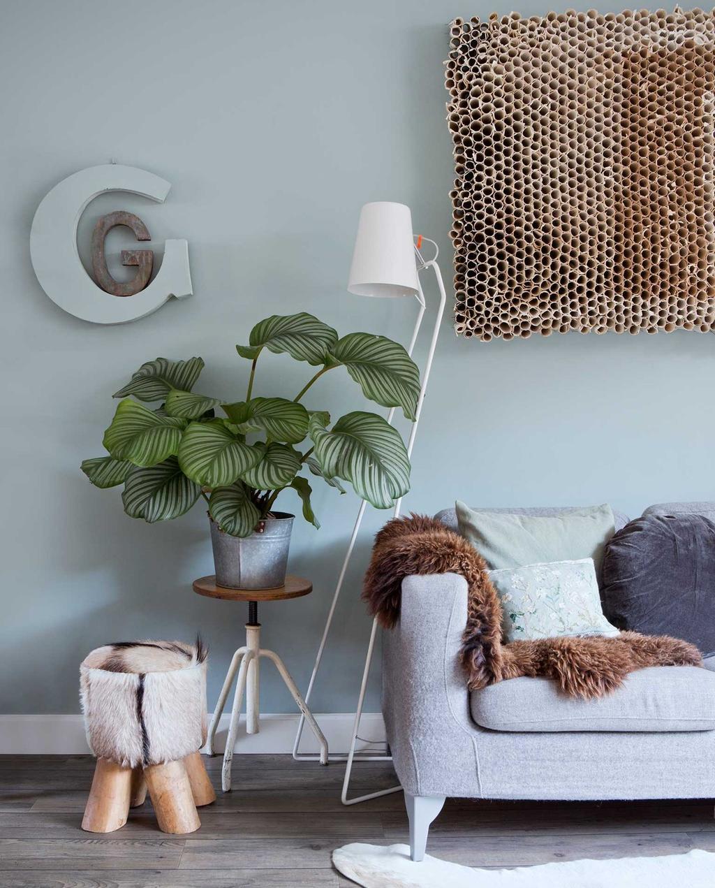 woonkamer | blauw | lichtblauw | kamerplant | calathea | wandkleed | kleur van het jaar